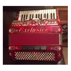 Exclusive 3 voice Accordion 30/107 bass Red with decoration Used