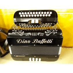 Dino Baffetti Italian 4 voice 2 Row acordion B/C 23/8 Black Used
