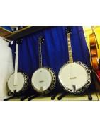 Range of 4, 5 and 6 string guitar, Irish tenor and g bluegrass banjos