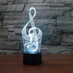 LED G-Clef Acrylic Table Night Light Decorative 3D Illusion 7 Color Change