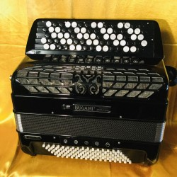 Bugari Championfisa midi 77 button 96 bass 4 voice musette 5 Row Chromatic Accordion Used