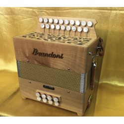 Brandoni Italian D/G English Folk Style Wooden 2 voice 2 Row dry tuned Button Accordion Used