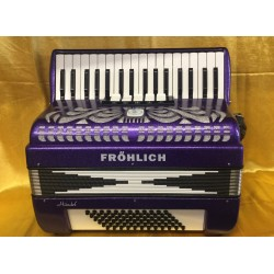 Frohlich Purple 34 Key 72 Bass 3 Voice Piano Accordion Used