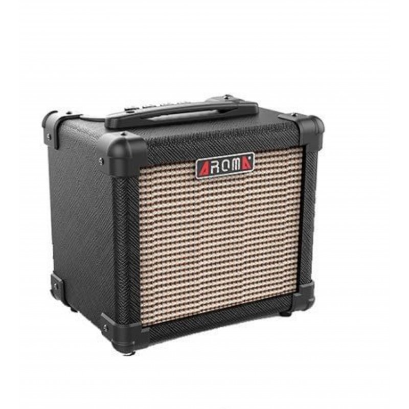 10W Electric Guitar Amplifier Dual power via 6 x AA batteries and Power supply Aroma – BLACK