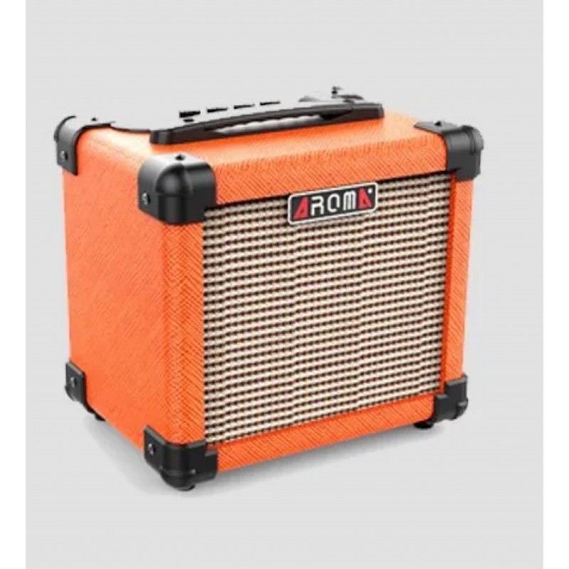 10W Electric Guitar Amplifier Dual power via 6 x AA batteries and Power supply Aroma – ORANGE