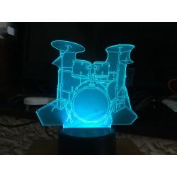 LED Drum Kit Acrylic Table Night Light Decorative 3D Illusion 7 Color Change