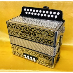 Hohner D/G Vienna Black and Gold  21 button accordion Used