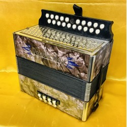 Hohner B/C Double Ray Black Dot 21 button accordion Used