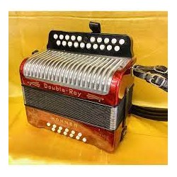 Hohner B/C Double Ray 12 Stradella Bass Black Dot Button Accordion Used