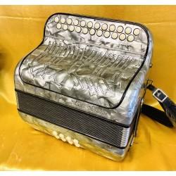 Old Grey Paolo Soprani B/C 3 Voice 2 Row Accordion Used