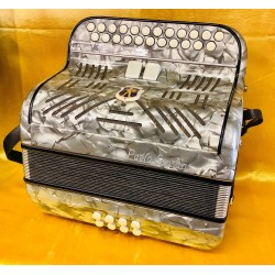 Old 1950s Grey Paolo Soprani D/Ds 4 voice 2 Row Accordion Used